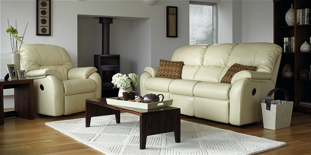 G Plan Upholstery Mistral Leather Sofa and Chair