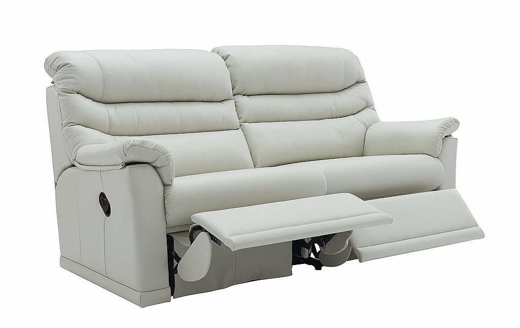 G Plan Upholstery Malvern 3 Seater 2 Cushion Leather Recliner Sofa