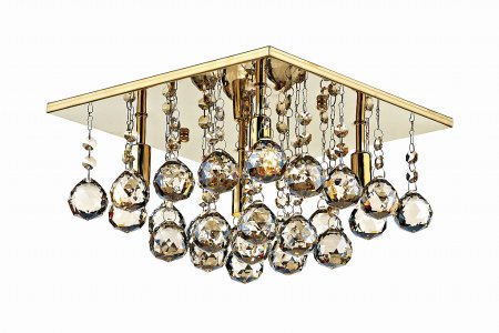 Abacus 4 Light Square Flush Ceiling Light in Gold