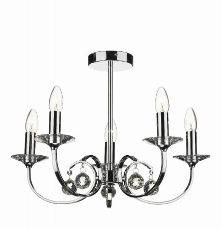 Allegra 5 Light Dual Mount Pendant in Polished Chrome