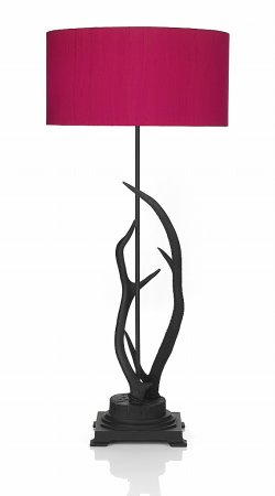 Antler  Table Lamp complete with Hot Pink Shade
