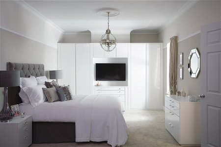 Flow Fitted Bedroom Furniture range in Gloss White