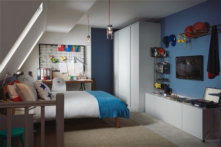 Flow Fitted Bedroom Furniture range in Matt Dove Grey