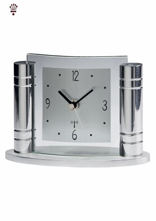 Greek Chrome Mantel Clock