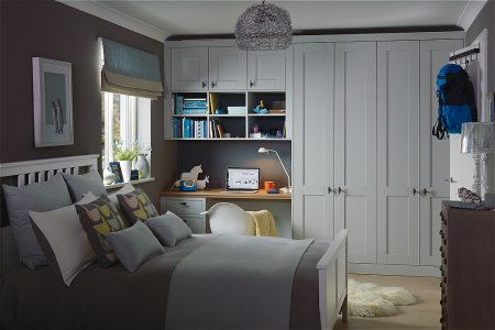 Origin Fitted Bedroom Furniture range in Partridge Grey