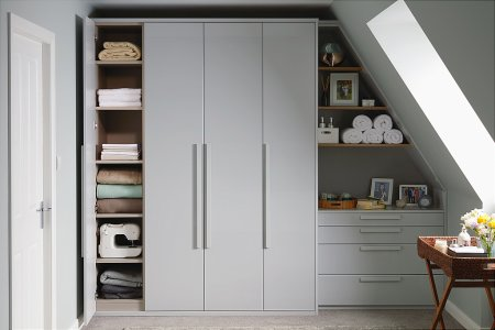 Parity Fitted Bedroom Furniture range in Gloss Dove Grey