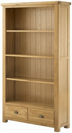 Portland Oak Wide Bookcase with Drawers