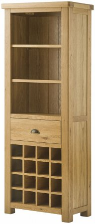 Hartford Grand Oak Bookcase with Wine Rack
