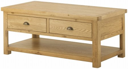 Portland Oak Coffee Table with 2 Drawers