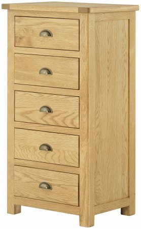 Hartford Oak 5 Drawer Wellington Chest