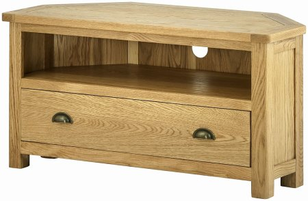 Portland Oak Corner TV Unit with Drawer