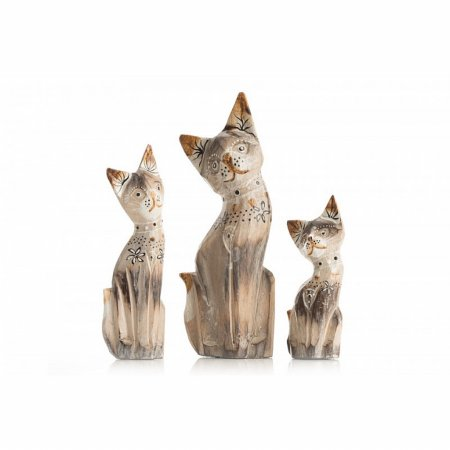Accessories Set of 3 Small Cream Cats