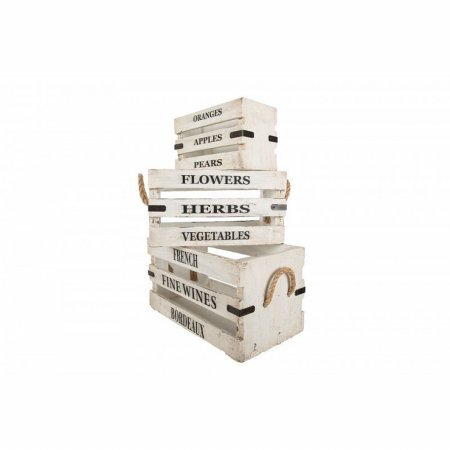 Vintage Set of White Boxes with Lettering