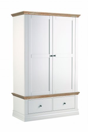 Annecy Oak Double Wardrobe with 2 Drawers
