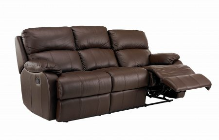 Vale Furnishers - Sofas - Jake Three Seat Leather Sofa - Double Manual Recliner. Click for larger image.