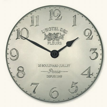 Art Marketing - Vale Furnishers Fleur de Lys Pewter Wall Clock. Click for larger image.