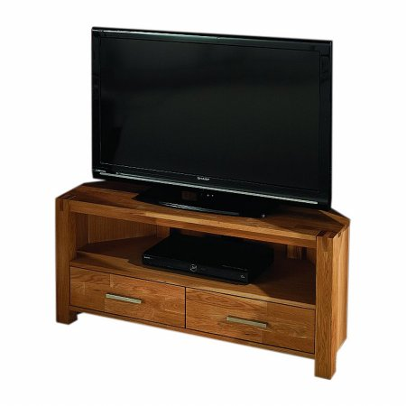 Vale Furnishers - Vale Oak Corner TV Unit. Click for larger image.