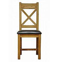 Barrow Clark - Hamilton Oak Cross Back Chair PU Seat