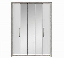 Kingstown - Cosmos 5 Door Centre Mirror Bi-Fold Robe - Oak + White