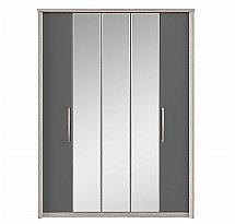 Kingstown - Cosmos 5 Door Centre Mirror Bi-Fold Robe - Oak + Graphite