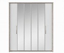 Kingstown - Cosmos 6 Door Centre Mirror Bi-Fold Robe - Oak + White