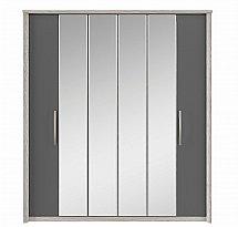 Kingstown - Cosmos 6 Door Centre Mirror Bi-Fold Robe - Oak + Graphite