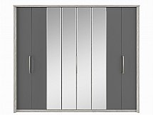 Kingstown - Cosmos 8 Door Centre Mirror Bi-Fold Robe - Oak + Graphite