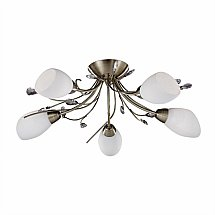 13995/Searchlight/Gardenia-Antique-Brass-5-Light-Semi-Flush-Light