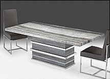 Stone International - Saturn Dining Table - Midnight Grey Top and Grey Oak Base