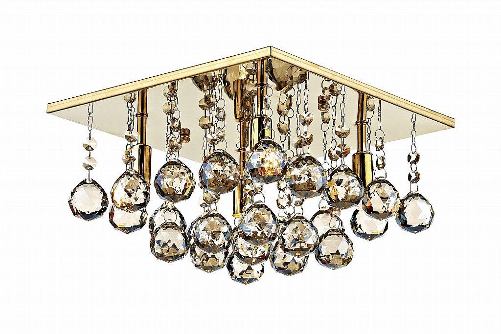 Dar Lighting - Abacus 4 Light Square Flush Ceiling Light in Gold
