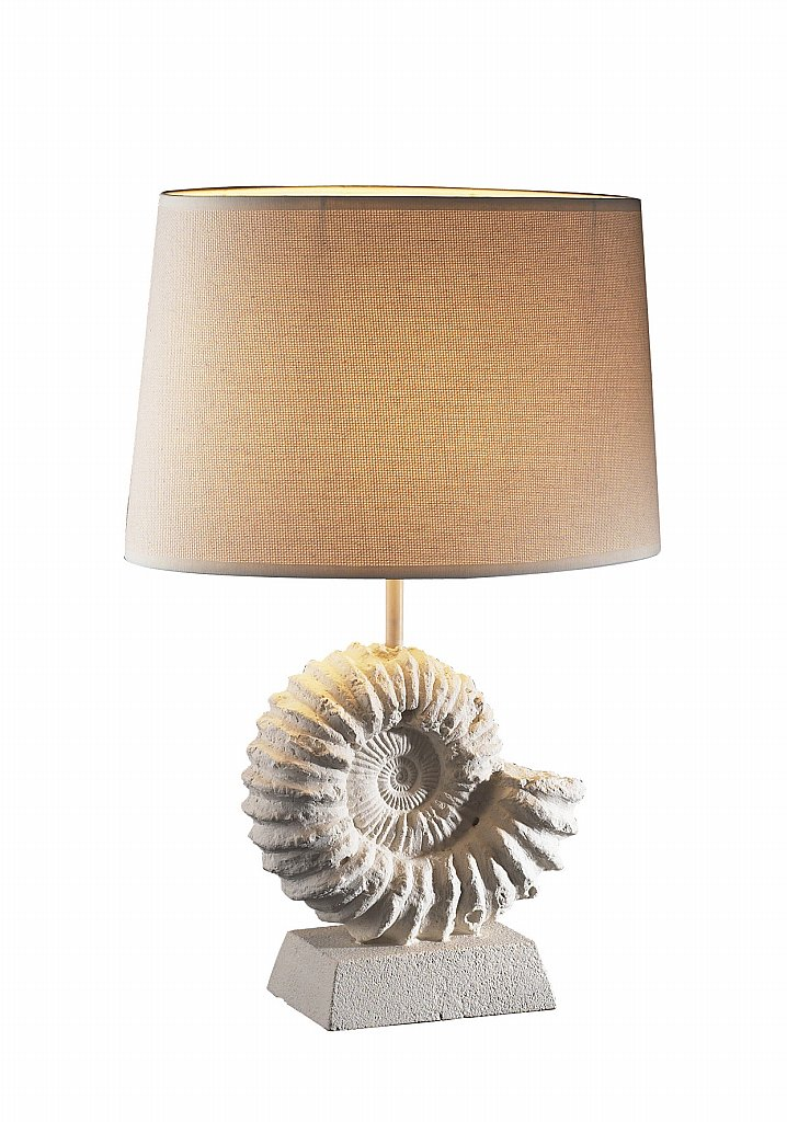 Dar Lighting - Ammonite  Stone Table Lamp complete with Shade