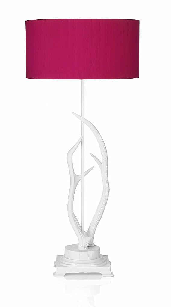 Dar Lighting - Antler Table Lamp complete with Hot Pink Shade