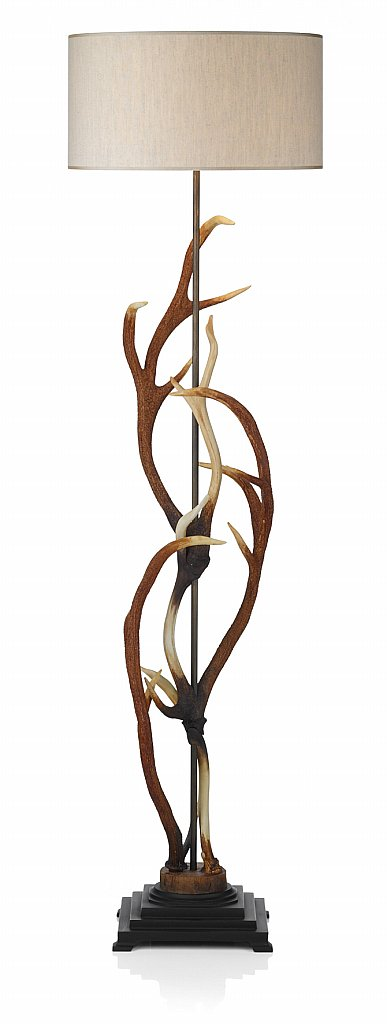Dar Lighting - Antler Floor Lamp complete with Taupe Shade