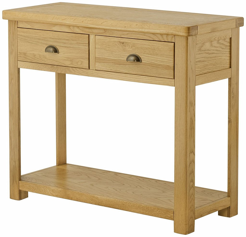 & Classic Furniture - Portland Oak 2 Drawer Console Table