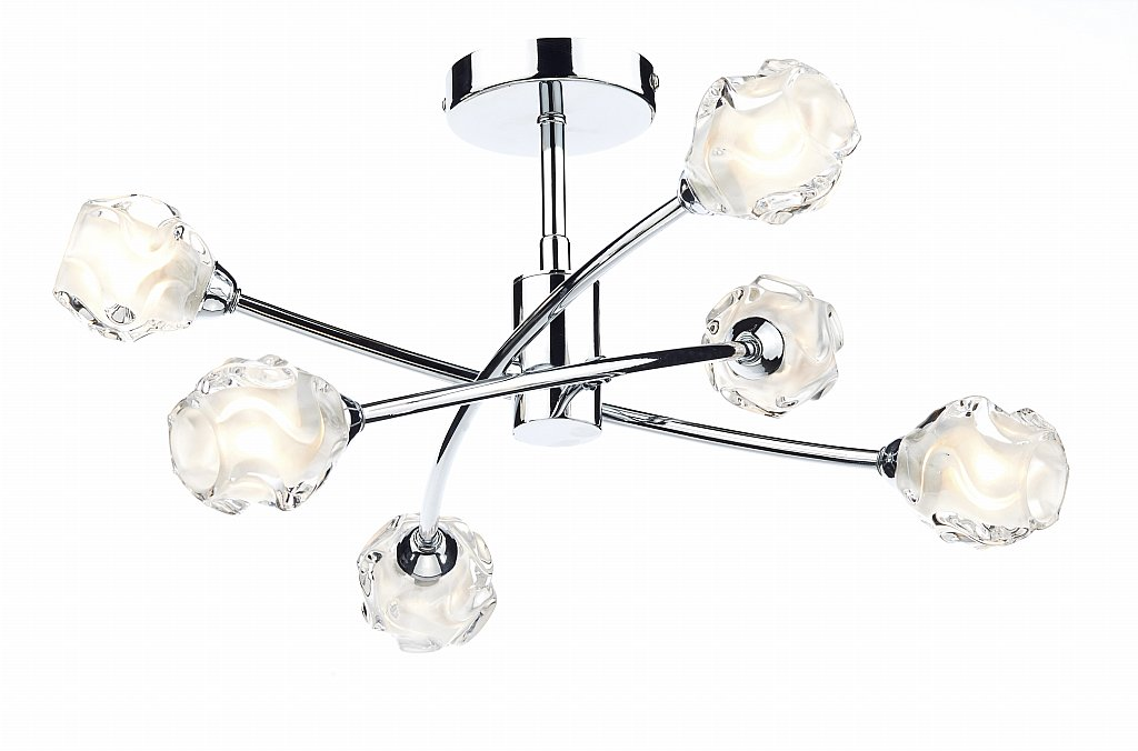 Dar Lighting - Seattle 6 Light Semi Flush