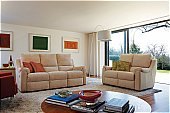 Albany Group: Three Seater Recliner Sofa in Picassa Beige, Leather Two Seater Sofa in Com ...click for more