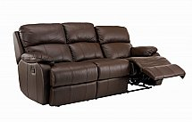 Vale Furnishers - Sofas - Jake Three Seat Leather Sofa - Double Manual Recliner