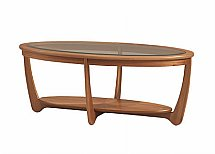 Nathan - Teak Collection Shades Glass Top Oval Coffee Table