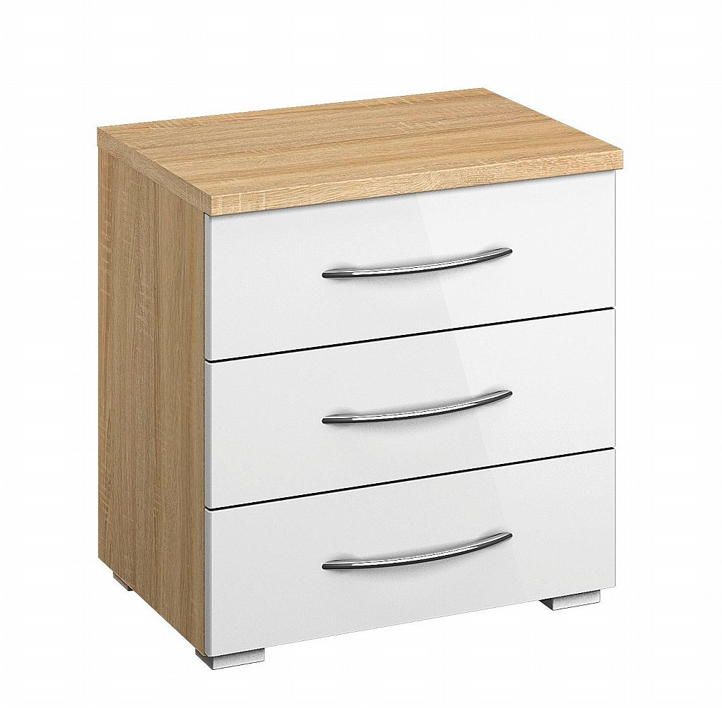 0596d76e60df2 Rauch - Molmo 3 Drawer Bedside Table - High Polish White