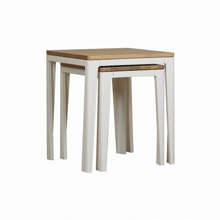 The Smith Collection - Geo Painted White Nest of Tables
