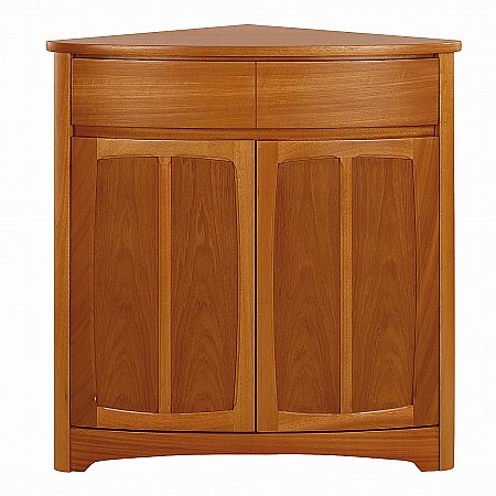 Nathan - Shades Teak Shaped 2 Door Corner Sideboard