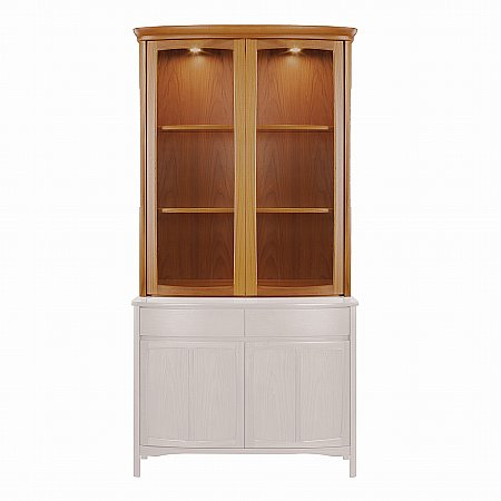 Nathan - Shades Teak Shaped 2 Door Display Top Unit